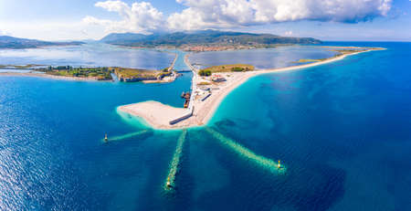 Panoramic view over Lefkada Island and harbour entrance at the floating swing bridge