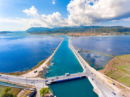 Aerial view of the rotating floating bridge at the entrance of the Lefkada harbour canal