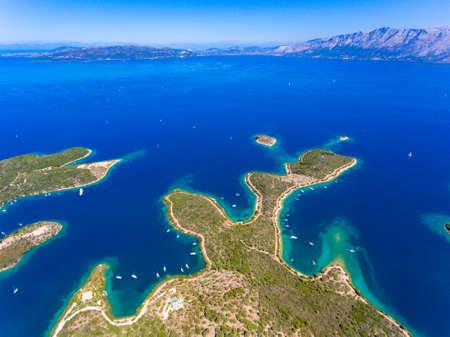 Meganisi Island panoramic aerial view