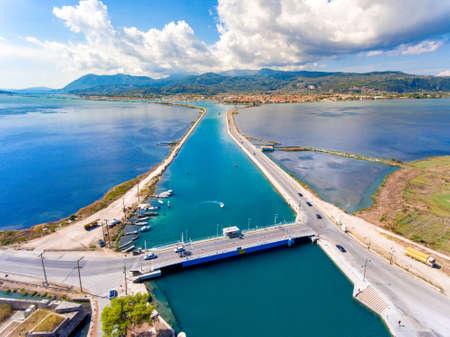 The floating swing bridge in Lefkada Island Greece aerial view Stock Photo