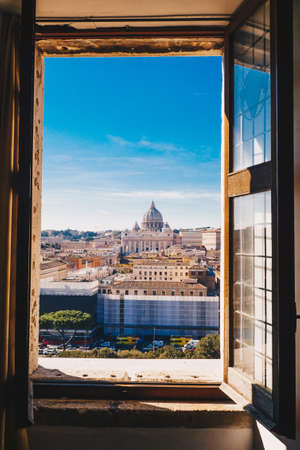 View of Rome and Vatican City from a window of Castel Sant`Angelo, Italy