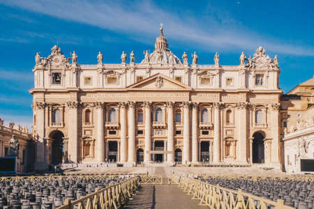 St. Peters square and Saint Peters Basilica in the Vatican City in Rome, Italy