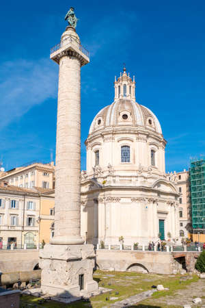 Trajans Column and Forum in Rome, Italy
