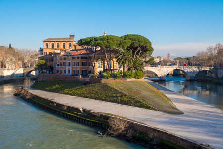 Tiberina Island (Isola Tiberina) on the river Tiber in Rome, Italy