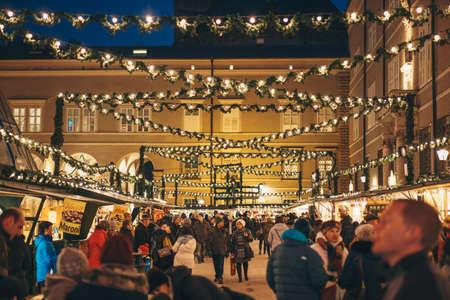 Salzburg, Austria - December 2017: Salzburg Christmas Market decorated for advent at night