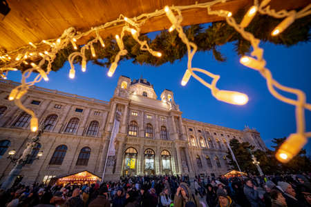 Vienna, Austria - December 2017: crowded christmas market in front of the Natural History Museum in Wien Editorial