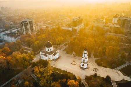 Moldova Chisinau sunrise in the Cathedral Park