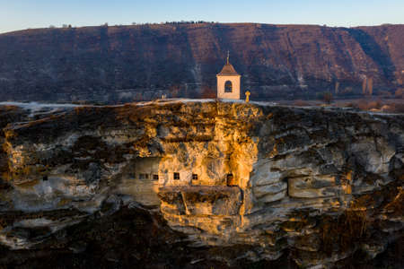 Old Orhei stone carved church at sunset. Aerial view, Moldova Republic Reklamní fotografie