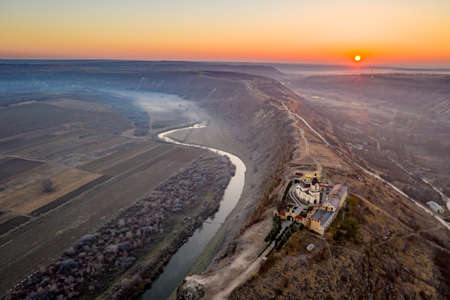 Raut River and Orhei Monastery at sunrise in Republic of Moldova