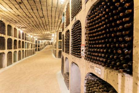 Milestii Mici, Moldova - November 2018: Undergound wine collection of Milestii Mici Winery near Chisinau, Moldova Republic