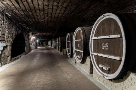 Milestii Mici, Moldova - November 2018: Underground wine barrels at Milestii Mici Winery near Chisinau, Moldova Republic