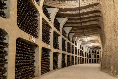 Milestii Mici, Moldova - November 2018: Inside the biggest winery in the world the Milestii Mici Winery in Moldova near Chisinau