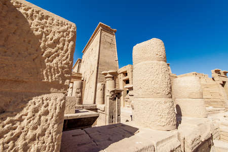 Rock columns at the entrance to Philae Temple Egypt Stock Photo