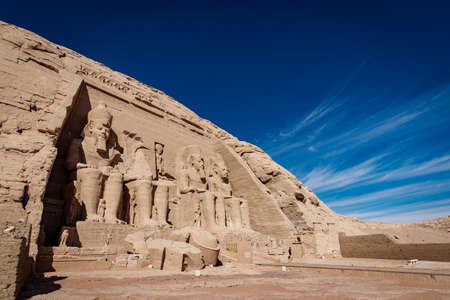 Abu Simbel Great Temple of Ramesses II near Abu Simbel Nubian Village near Lake Nasser and Aswan