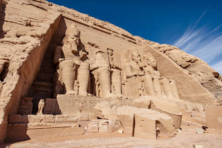 The front of Abu Simbel temple with no tourists