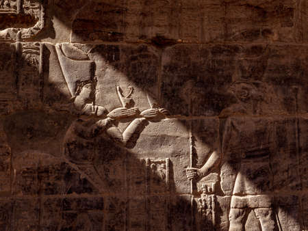 Isis Goddess and Horus hieroglyphs in Philae Temple in Aswna Egypt Standard-Bild - 121681971