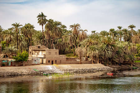 Traditional housing on the banks of Nile River in Luxor Egypt Stok Fotoğraf