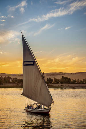 The Felucca boat the traditional way of navigation on the Nile River in Egypt Stok Fotoğraf