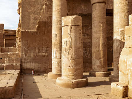 Kom Ombo Temple ruins dedicated to the crocodile God Sobek in Aswan Egypt Stock Photo
