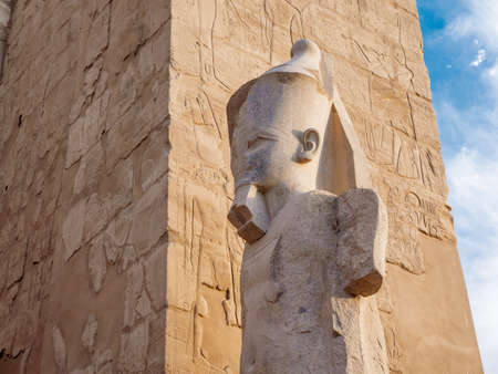 Karnak Temple statue and obelisk detail depicting King Ramses