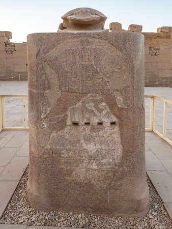 The big sacred scarab made from granite at the temple of Karnak in Luxor