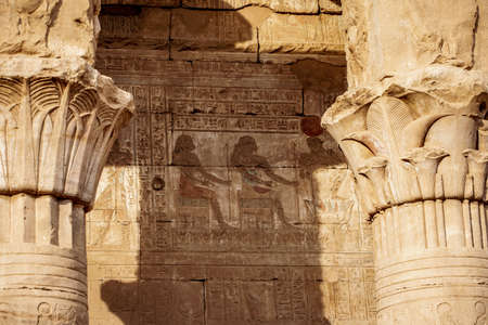 Colour Hieroglyphics at the Temple of Horus - Edfu in ancient Egypt (Idfu, Edfou, Behdet)