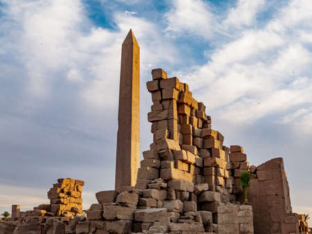 Great Obelisk at Karnak Temple Luxor Thebes Egypt Stock Photo