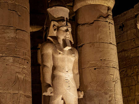 Ramses II statue at Temple of Luxor in Egypt at night Stok Fotoğraf