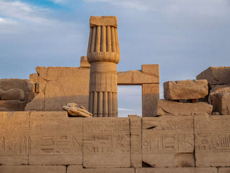 Ruins and hieroglyphics from the ancient Karnak Temple in Luxor