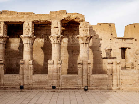Edfu Temple Columns also known as the Temple of Horus in ancient Egypt