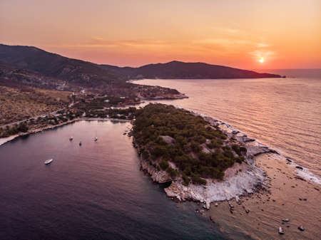 Panoramic view of Aliki gulf and yacht harbour and the ancient marble port and quarry visible to the right Stock Photo