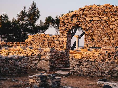 The ancient site at Aliki, the marble port ruins in Thasos Island, Greece
