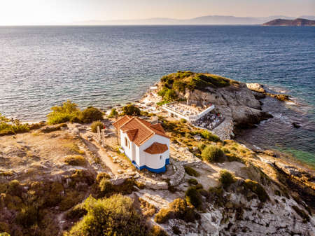 Thassos, Greece. Aerial view of one of the main tourist attraction on the island