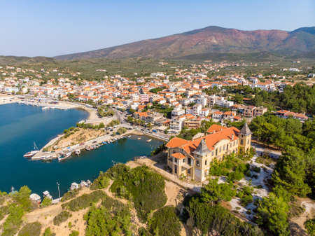Limenaria Castle and Limenaria Town, the second most important city in Thasos Island, Greece