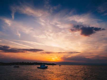 Sunset in Thasos in the summer Stock Photo