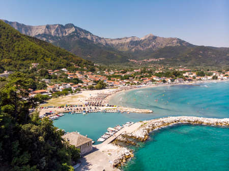 Golden Beach and Skala Potamia harbour in Thassos, Greece
