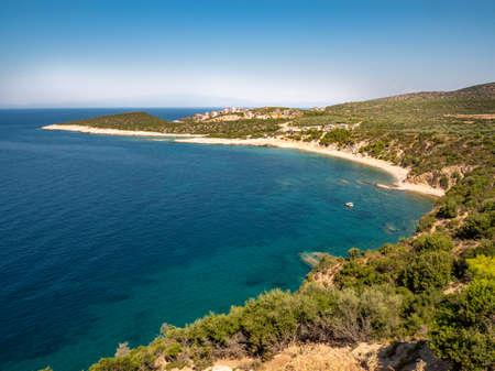 Thasos Island coastline aerial view panorama