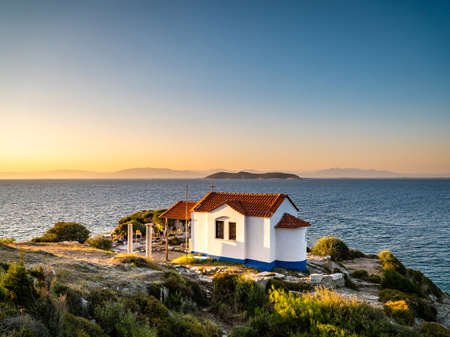 Thasos island symbol, the Two Apostoles Church near Karnagio Beach and Limenas Town