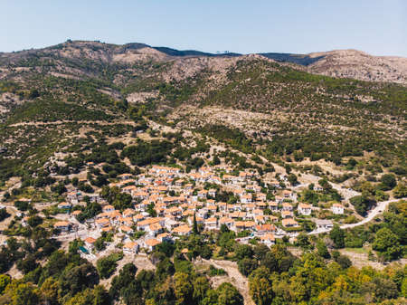 Maries village in the middle of Thasos Island, famous for its old olive trees Stock Photo