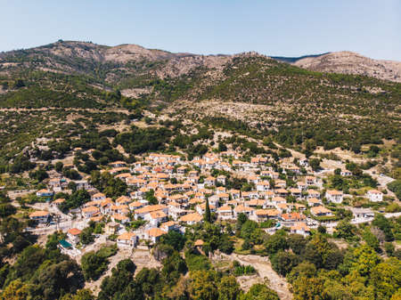 Traditional Greek Village Maries in the central part of Thasos (Thassos) Island, Greece Stock Photo