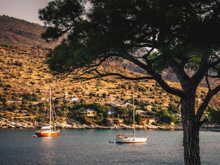 Aliki yachting harbour in Thasos, Greece