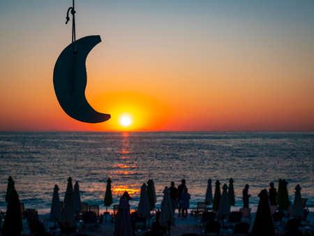 Sunrise at Marble Beach sand beach on the island of Thasos, Greece