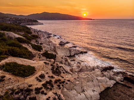 Aliki Marble Port and Beach at sunrise in Thasos, Greece