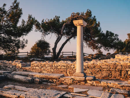 Ancient ruins in Thassos at Aliki near the old quarry and marble port