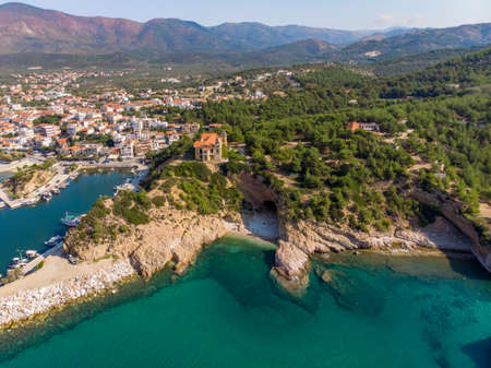Cliffs, beaches and turquoise water, the definition of Thasos Island, Greece Stock Photo