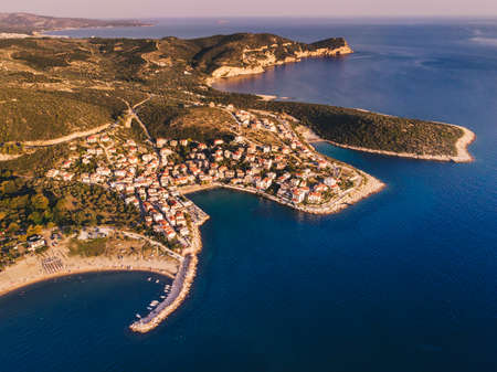Sunset over Thasos Island as seen from above. Drone shot over Skala Marion and Platanes Beach in Thasos Island, Greece Stock Photo