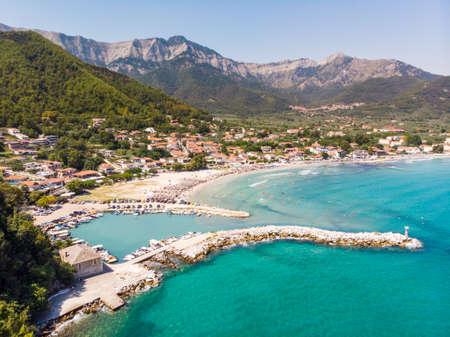 The famous Golden Beach as seen from above. Thasos, Greece, Aegean Sea