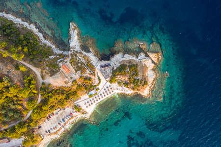 Aerial Thassos Island Greece beach view over Karnagio Bay / Limenas, Thassos Town
