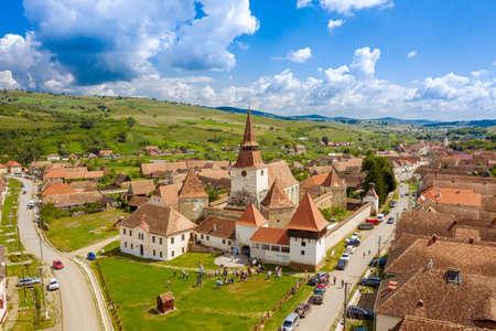 Summer landscape over Archita saxon village in the traditional Transylvania, Romania