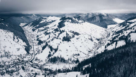 Winter in Transylvania. Rucar-Bran pass region covered in snow